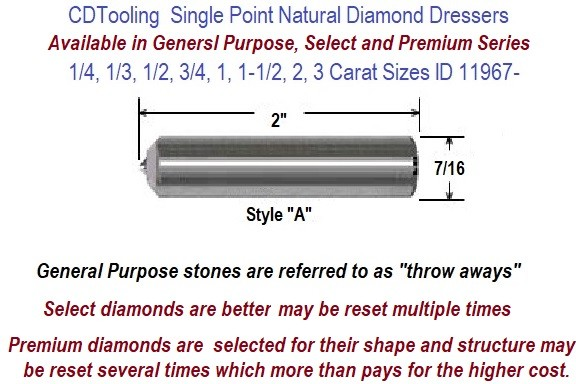 Single Point Natural Diamond Dressers Available in 1/4, 1/3, 1/2, 3/4, 1, 1-1/2, 2, 3 Carat Sizes ID 11967-