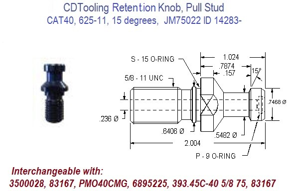 High Torque Retention Knob, Pull Stud CAT40, 625-11, 15 degrees,  JM31616HT ID 14295-