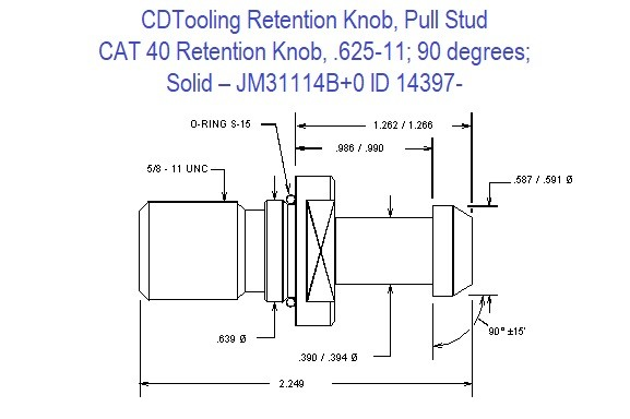 Retention Knob, Pull Stud, CAT40, 625-11, 90 degrees, Solid JM31114B+O ID 14397-