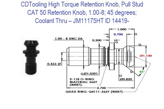 High Torque Retention Knob, Pull Stud, CAT50, 1.00-8, 45 degrees, Coolant Thru  JM11175HT ID 14419-