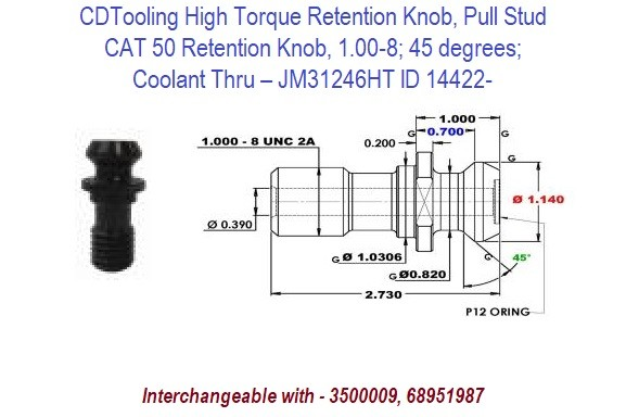 High Torque Retention Knob, Pull Stud, CAT50, 1.00-8, 45 degrees, Coolant Thru  JM31246HT ID 14422-