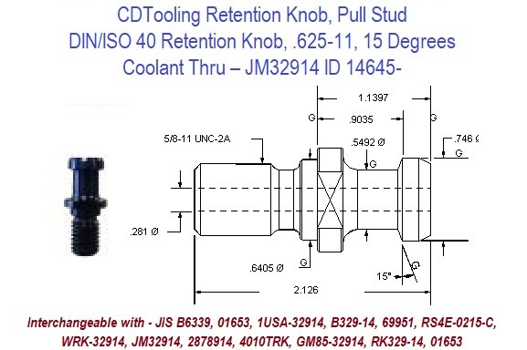 Retention Knob, Pull Stud; DIN/ISO 40, .625-11, 15 Degrees, Coolant Thru  JM32914 ID 14645-