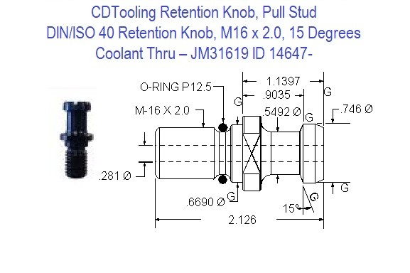 Retention Knob, Pull Stud; DIN/ISO 40, M16 x 2.0, 15 Degrees, Coolant Thru  JM31619 ID 14647-