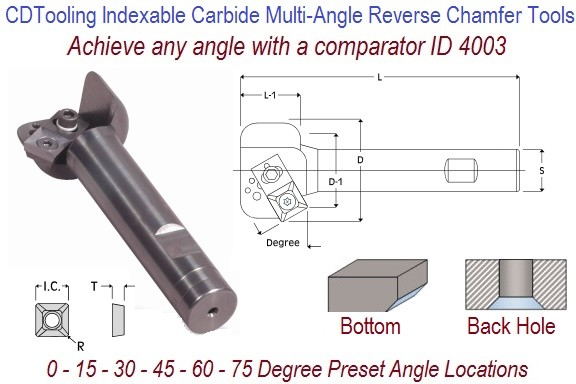 0 to 75 Degree Reverse Multi Angle Indexable Carbide End Mill 1.5 Inch Diameters Achieve any Angle ID 4003-ACR-1500