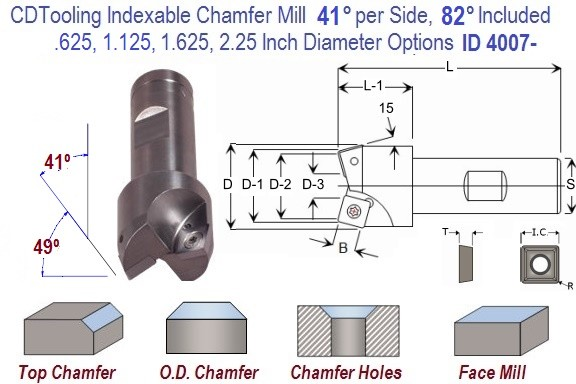 41 per side, 82 Included Degree Angle Indexable Carbide Chamfer Mill .625, 1.125, 1.625, 2.25 Inch Diameters ID 4009-