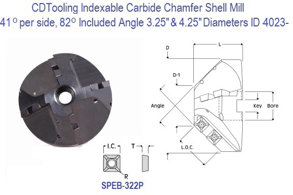 41 per side, 82 Included Degree Angle Indexable Carbide Chamfer Shell Mill 3 and 4 Inch Diameters ID 4023-