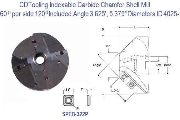 60 per side,120 Included Degree Angle Indexable Carbide Chamfer Shell Mill 3.625 and 5.375 Inch Diameters ID 4025-