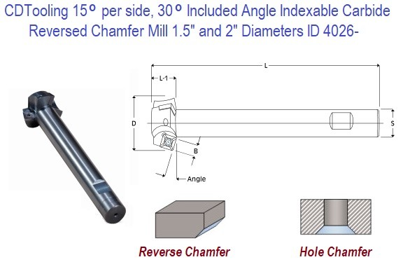 15 per side, 30 Included Degree Angle Indexable Carbide Reversed Chamfer Mill 1.5 and 2 Inch Diameters ID 4026-