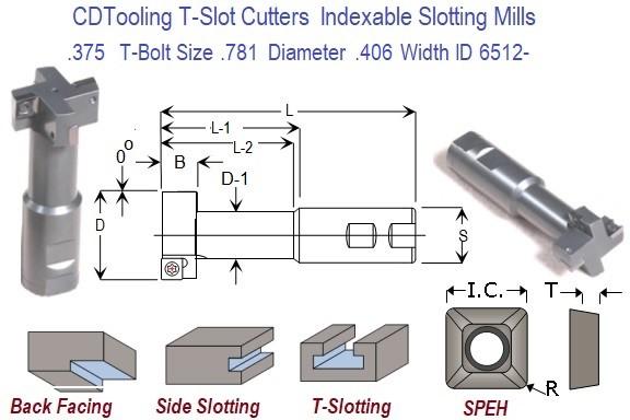 375 T-Bolt Size  781 Diameter  406 Width Indexable Carbide Insert T