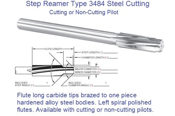 Step Reamer Carbide Tipped Left Hand Spiral Right Hand Cut Series 3484 ID 2394-