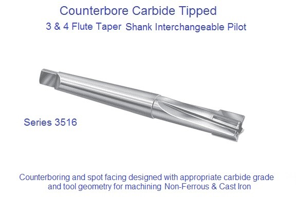 Counterbore Interchangeable Pilot Taper Shank Non Ferrous Cast iron Carbide Tipped Series 3516 .2381 to 2.030 Inch id 1571