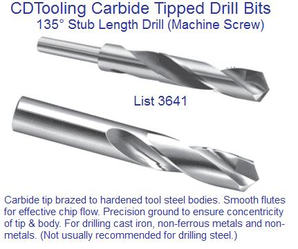 Carbide Tipped Taper Length 25//32 in Drill High Speed Body Dia