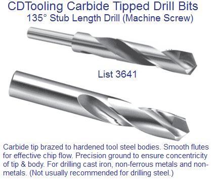 "Length Drill .1875/"" Carbide Tipped Screw Machine Stub 3//16/"""