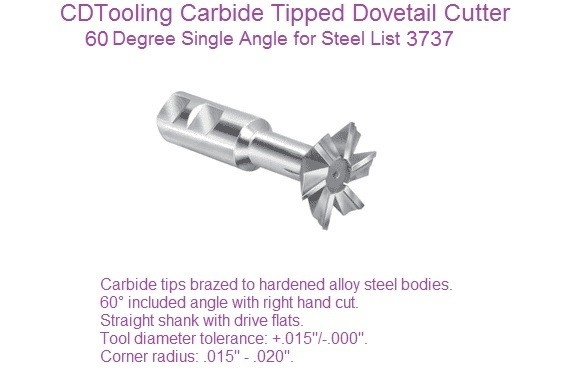 60 Degree Dovetail Cutters Carbide Tipped Steel Cutting 1/2 to 3 inch Diameter 3737