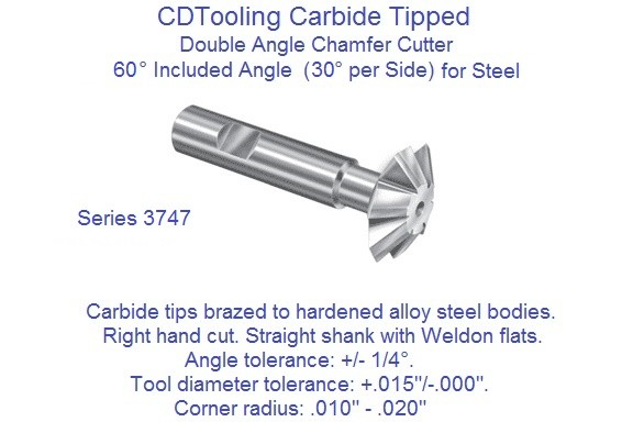 Carbide Tipped Double Angle 60 Degree Included 30 Per Side Milling Cutters for Steel 3747