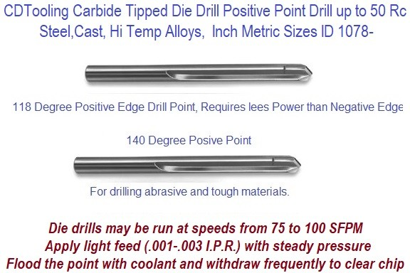 Carbide Tipped Hard Die Drill Positive Point, for Up to 50 Rc Steel, Cast Hi Temp Alloys Inch Metric Sizes ID 1078-