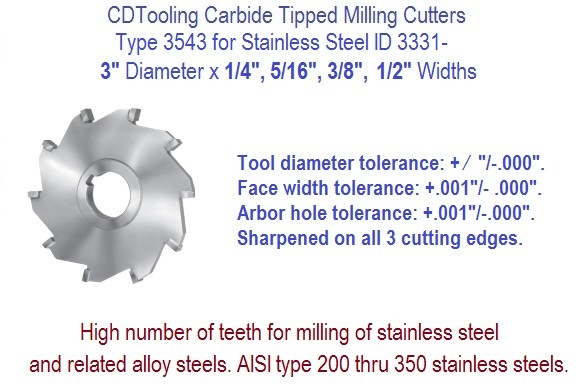 3 Inch Diameter Carbide Tipped Side Milling Cutter for Stainless Steel, Alloys .250 .312 .375 .500 Widths ID 3331-