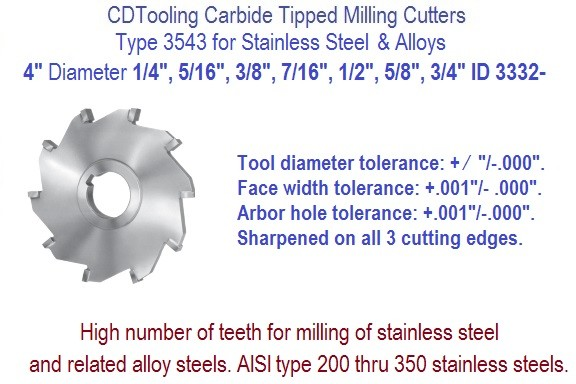 4 Inch Diameter Carbide Tipped Side Milling Cutter for Stainless Steel, Alloys .250 .312 .375 .437 .500 .625 .750 Widths ID 3332-