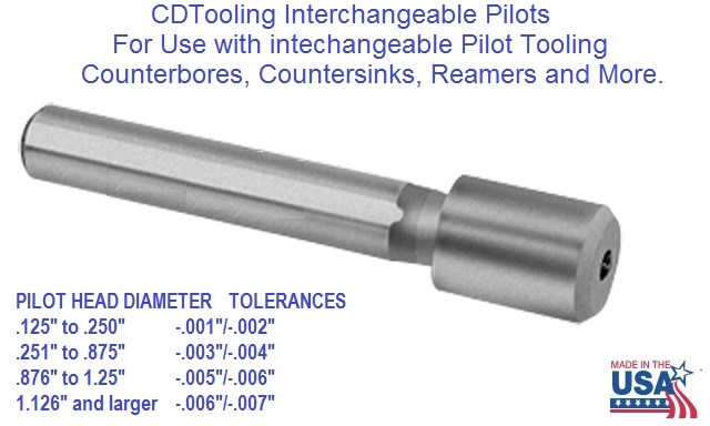 Interchangeable Pilots for Counterbore 1/8 to 2 Inch Diameter, 3/32 to 1/2 Hole Size ID 1706-