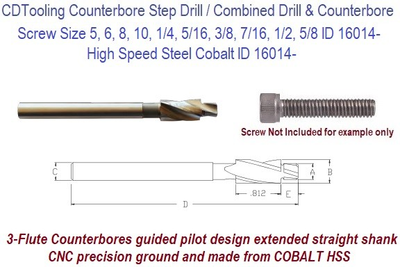 3-Flute CNC Counterbores Cobalt Guided Pilot, Extended Straight Shank clearance for Socket Head Cap Screw ID 16014-