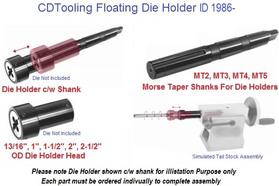 LATHE TAILSTOCK FLOATING DIE HOLDER SET MT1 INCLUDES 4 DIE HOLDER IN INCHES