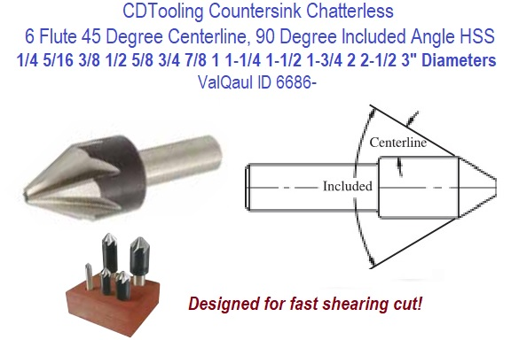 Drill America 1//2-82 High Speed Steel 6 Flute Chatterless Countersink Dew Series