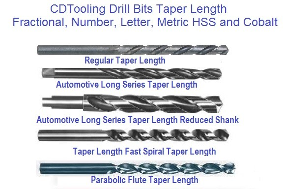 Drill Bits Taper Length Fractional, Number, Letter, Metric HSS and Cobalt ID 916-