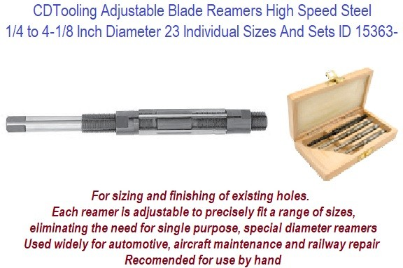 .250 1/4 to 4.125 4-1/8 Inch Diameter Adjustable Blade Reamer HSS Select From 23 Individual Sizes or Sets ID 15363-