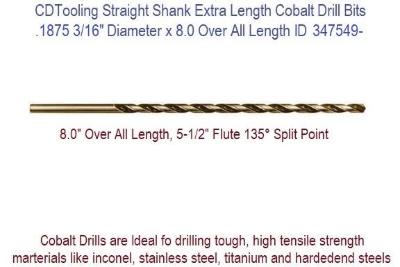 0.1875 3/16 Diameter 5.50 Flute 8.0 Inch Over All Length Straight Shank Cobalt Drill 347549-