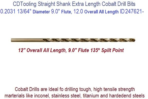 0.2031 13/64 Inch Diameter 9.00 Flute 12.0 Inch Over All Length Straight Shank Cobalt Drill 347621-