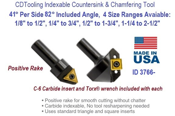 41 Degree Per Side 82 Degree Included Angle Indexable Countersink and Chamfering Tool  ID 3766