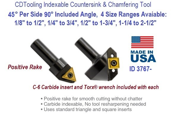 45 Degree Per Side 90 Degree Included Angle Indexable Countersink and Chamfering Tool ID 3767