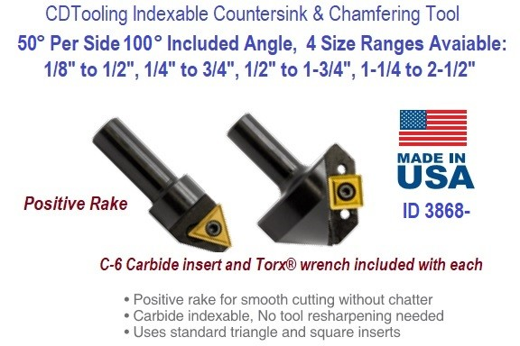 50 Degree Per Side 100 Degree Included Angle Indexable Countersink and Chamfering Tool ID 3768-