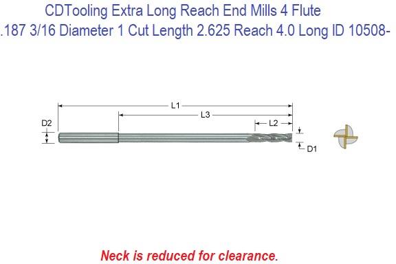 "BALL-end 4-flutes EXTRA LONG LENGTH 5//8/"" Carbide End Mill"