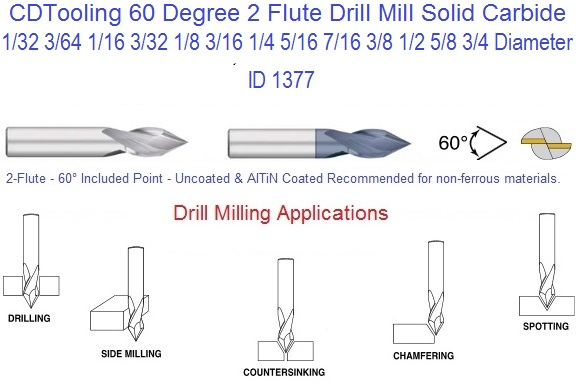 5//16 4 FLUTE 90 DEGREE POINT ANGLE CARBIDE DRILL MILL