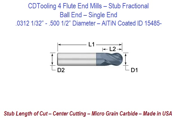 "1//2/"" 4 FLUTE SINGLE END STUB LENGTH AlTiN COATED CARBIDE END MILL"