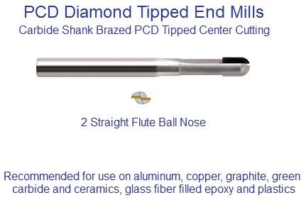 PCD End Mill Polycrystalline Diamond 2 Flute Ball  End 3/32,1/8,3/16,1/4