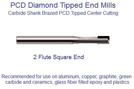 PCD End Mill Polycrystalline Diamond 2 Flute Square End 3/32,1/8,3/16,1/4,3/8,1/2