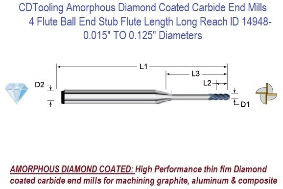 4 Flute Ball End Long Flute Length Long Reach Amorphous Diamond Coated End Mills 0.015 to 0.250 Inch Diameters Series ID 14961-