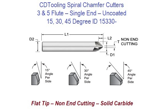 15, 30, 45 Degree - Uncoated 3 and 5 Flute Carbide Spiral Single End Chamfer Cutters  ID 15330-
