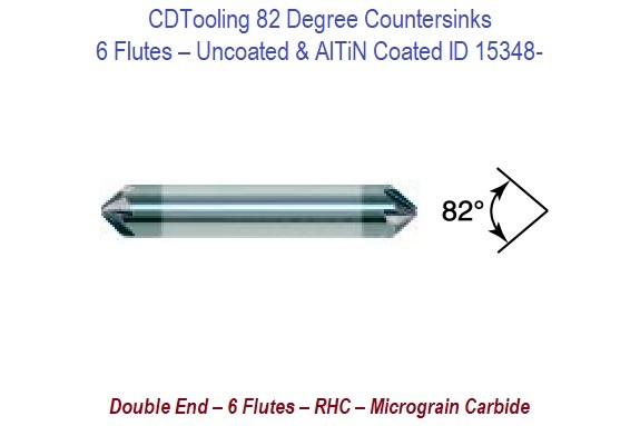 82 Degree - 6 Flutes RHC Micrograin Carbide Double End Countersinks ID 15348-