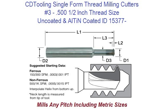 3 - .500 1/2 Inch Thread Size - Single Form Thread Milling Cutters ID 15377-