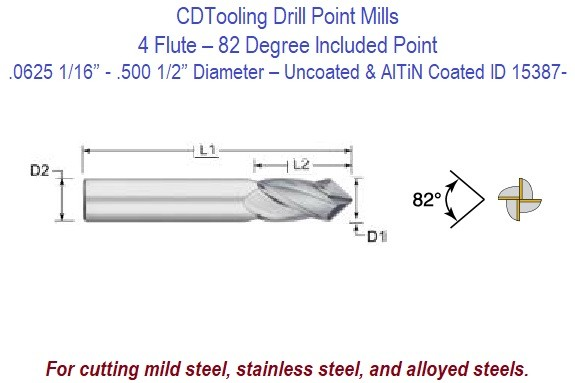 .0625 1/16 - .500 1/2 Inch Diameter - 4 Flute 82 Degree Carbide Drill Mill - Uncoated and AlTiN Coated ID 15387-