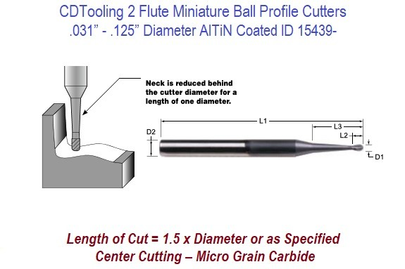 """COATED 3 FLUTE BALL WITH NECK 1//8/"""" 1250/"""" CARBIDE BALL ENDMILL FOR ALUMINUM"""