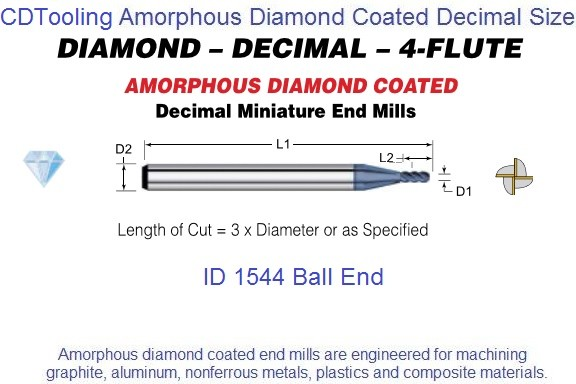 Amorphous Diamond Coated 4 Flute Decimal Size Micro Ball End Mills 0.015-0.500