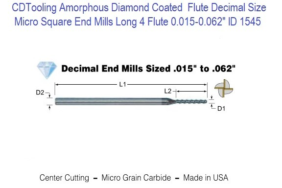 Amorphous Diamond Coated  Flute Decimal Size Micro Square End Mills Long 4 Flute 0.015-0.062
