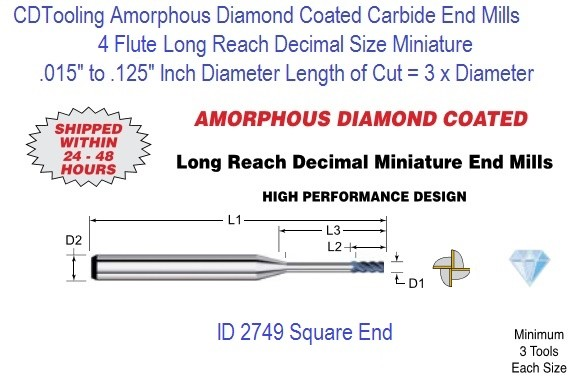 Amorphous Diamond Coated Flute Decimal Size Micro Square End Mills Long Reach 4 Flute 0.015-0.125