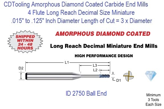 Amorphous Diamond Coated Flute Decimal Size Micro Ball End Mills Long Reach 4 Flute 0.015-0.125