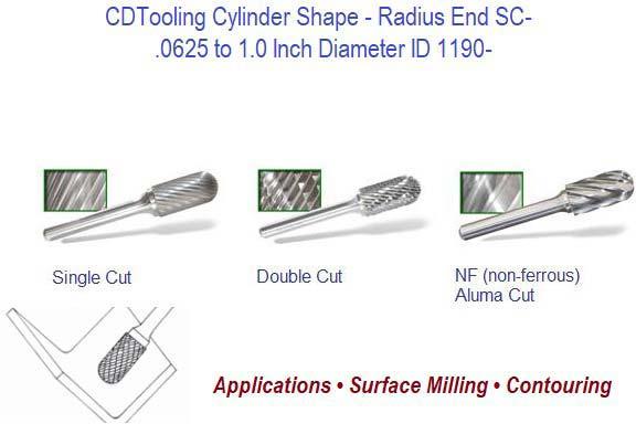 "1//8/""Diameter 1//8/""Shank Cylinder Radius End Cutting Carbide Burr Double Cut SC-42"