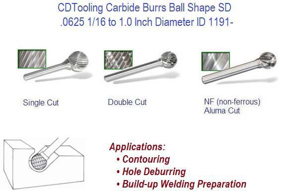 SD-2-NF Aluminum Cut Ball Carbide Bur Rotary File burr non-ferrous die grinder